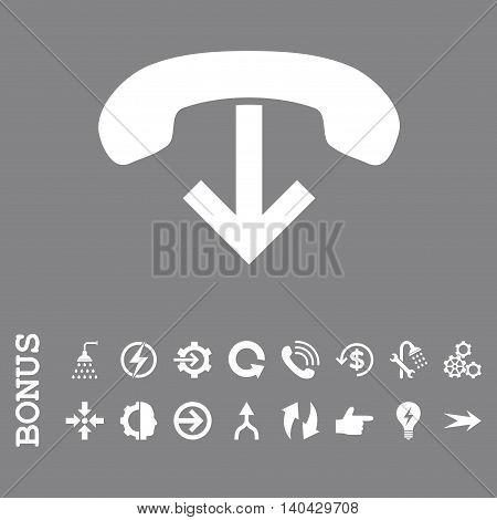 Phone Hang Up glyph icon. Image style is a flat iconic symbol, white color, gray background.