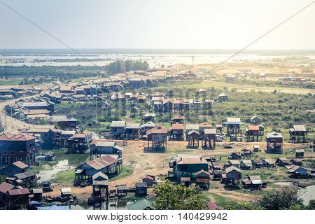 Village In Cambodia Landscape - Houses On Piles