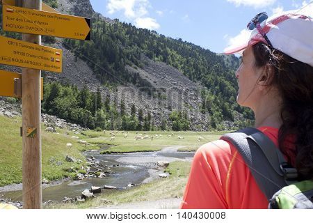 hiker checking the direction in the sign during the excursion