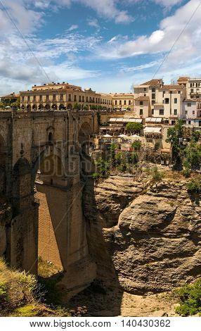 Stone bridge Puente Nuevo in Ronda, Malaga, Spain