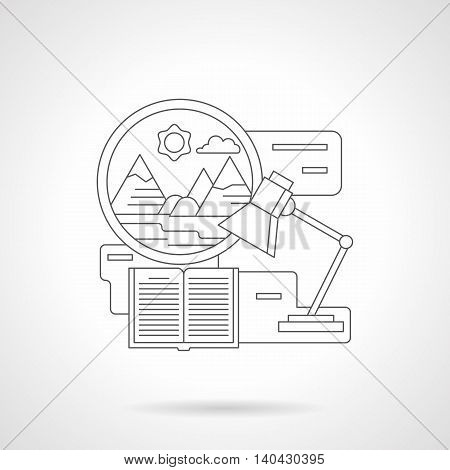 Record adventures in travel. Circle window with mountain landscape, lamp and journal on a table. Working notes of the expedition. Detailed flat line vector icon. Web design element.