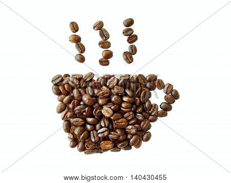 roasted coffee beans coffee cup shape isolated on white background