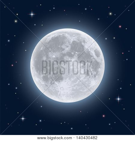 Realistic full moon. Detailed vector illustration of night sky