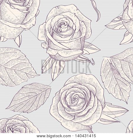 Seamless pattern with engraved roses. vector illustration