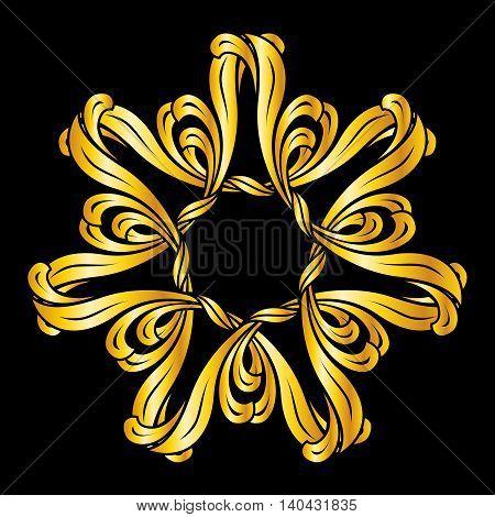 Flower pattern in golden shades on black background