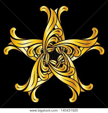 Abstract floral ornament in golden shades on black background