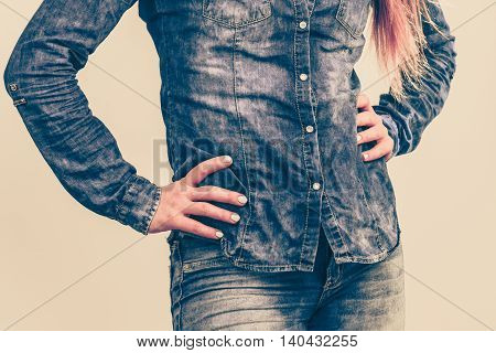 Woman In Denim Jeans Shirt