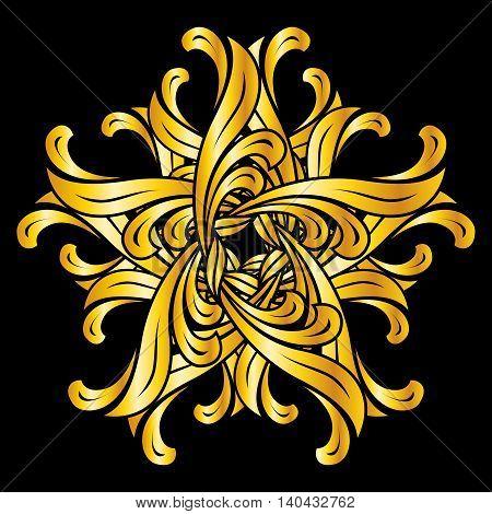 Gold design element in floral style on black background