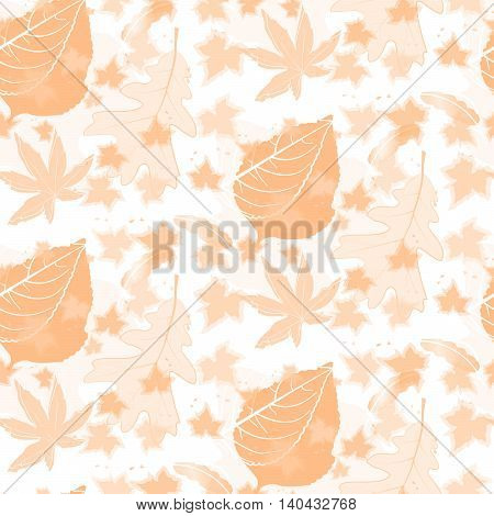 Duotone Color Autumn Leaf Seamless Pattern Background