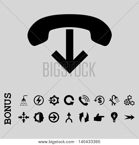 Phone Hang Up glyph icon. Image style is a flat iconic symbol, black color, light gray background.