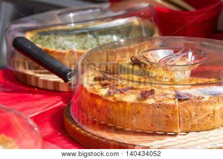 cutting homemade fresh delicious pie