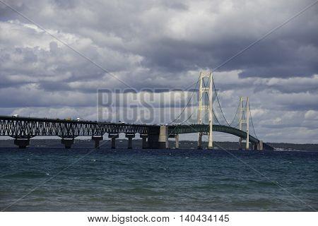 Mackinac Bridge in the Upper Peninsula of Michigan.