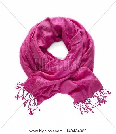 Beautiful colorful scarf on a white background.