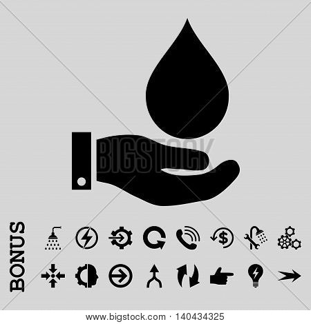 Water Service glyph icon. Image style is a flat iconic symbol, black color, light gray background.