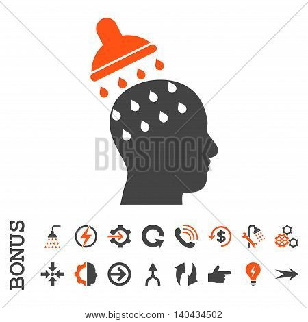 Brain Washing glyph bicolor icon. Image style is a flat iconic symbol, orange and gray colors, white background.