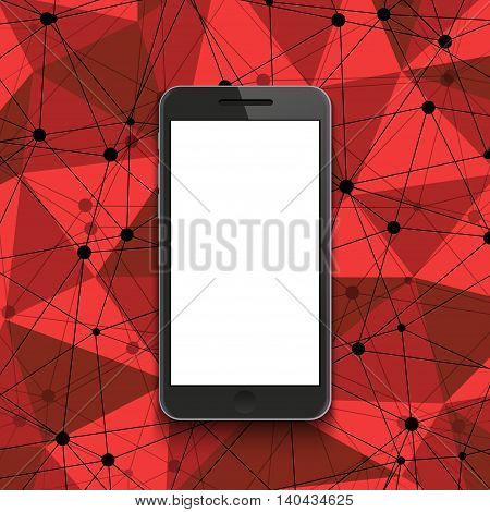 Vector modern smartphone on polygonal background. Eps10