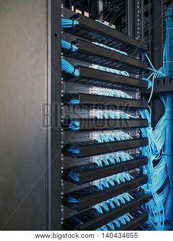Network switch and network wire in rack cabinet