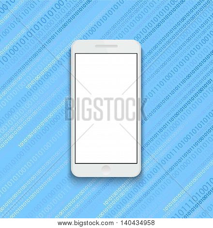 Vector modern smartphone on binary code background. Eps10