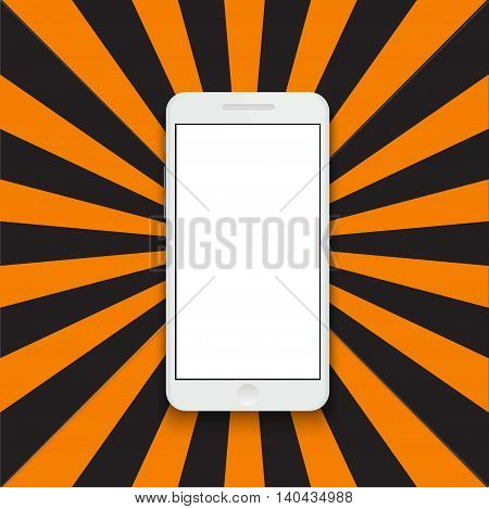 Vector modern smartphone on colorful striped background. Eps10
