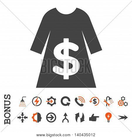 Dress Sale glyph bicolor icon. Image style is a flat iconic symbol, orange and gray colors, white background.