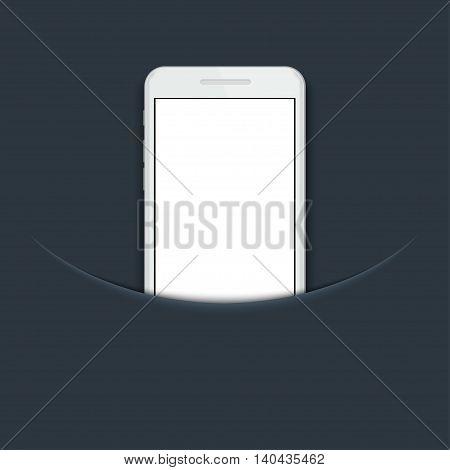 Vector modern smartphone on blue background. Eps10