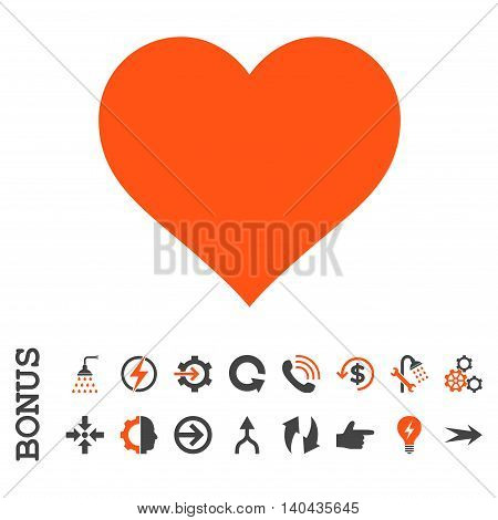 Love Heart glyph bicolor icon. Image style is a flat iconic symbol, orange and gray colors, white background.