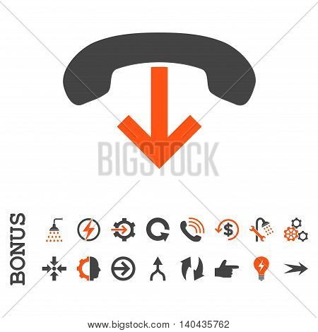 Phone Hang Up glyph bicolor icon. Image style is a flat iconic symbol, orange and gray colors, white background.