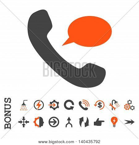 Phone Message glyph bicolor icon. Image style is a flat pictogram symbol, orange and gray colors, white background.