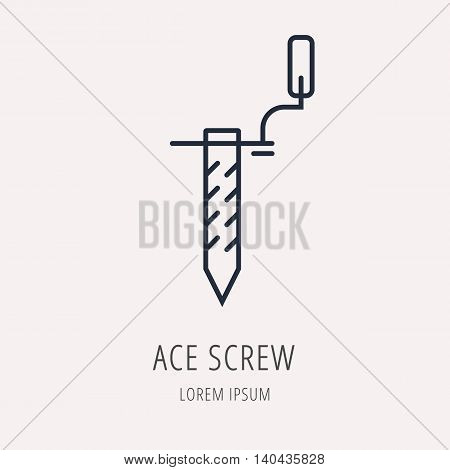 logo or label Ace Screw. Line style logotype. Easy to use business template. Vector abstract sign or emblem.