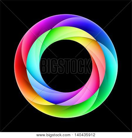 Abstract colorful ring with colorful layers on black background