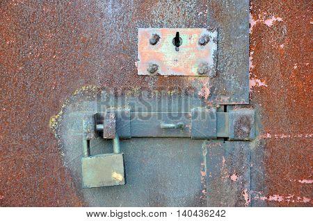 Rusty Lock On Garage Gate