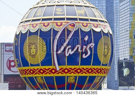 Las Vegas - Circa July 2016: Exterior of the Paris Las Vegas. With a Half-Size Eiffel Tower the Paris is Part of Caesars Entertainment Corp I