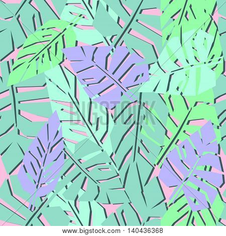 Tropical leaves seamless pattern. Bright palm leaves background. Jungle illustration. Fashion design for textile, wallpaper, web, fabric and decor.