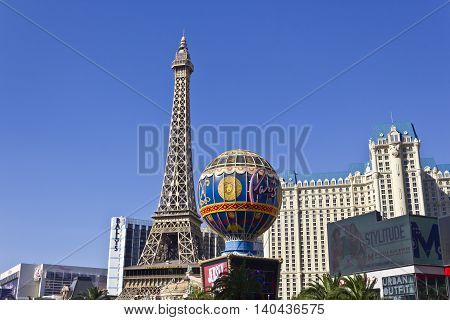 Las Vegas - Circa July 2016: Exterior of the Paris Las Vegas. With a Half-Size Eiffel Tower the Paris is Part of Caesars Entertainment Corp II