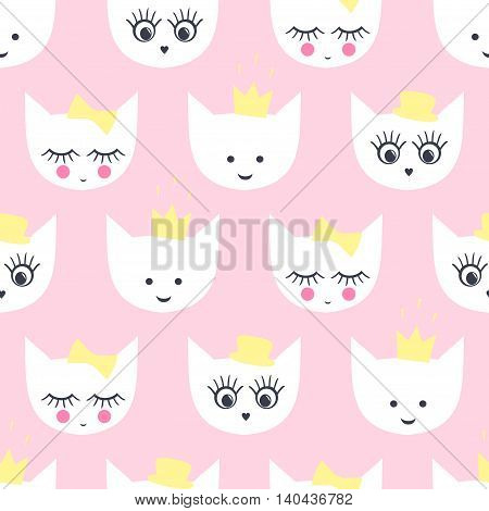 Kitty seamless pattern. Baby style illustration with white cats with hat, crowns, eyes, lashes, lips on pink background for kids holidays. Cute design for textile, wallpaper, web, fabric etc.