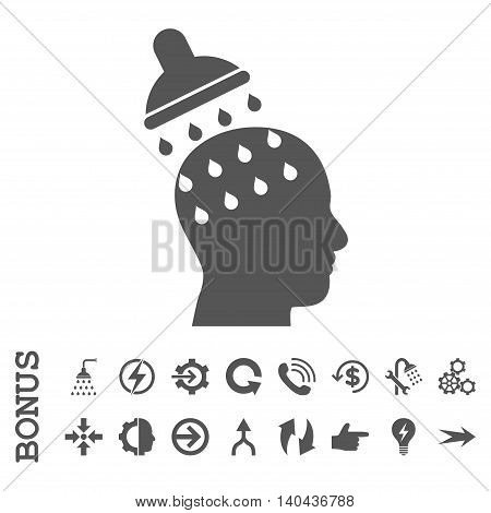 Brain Washing glyph icon. Image style is a flat iconic symbol, gray color, white background.