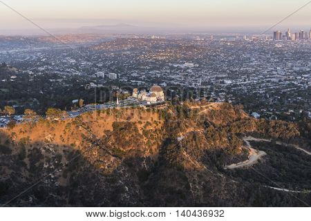 Late afternoon aerial of Griffith Park and Los Angeles, California.