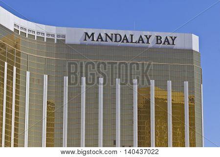 Las Vegas - Circa July 2016: Exterior and Signage of the Mandalay Bay Hotel. The Mandalay Bay is a Subsidiary of MGM Resorts International I