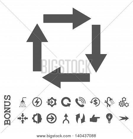 Circulation Arrows glyph icon. Image style is a flat iconic symbol, gray color, white background.