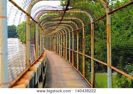 Chain Link Walkway on a Bridge Overpass