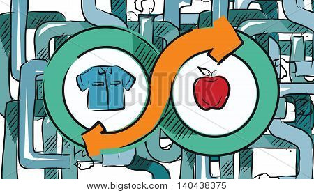 barter commerce trade transaction economic concept exchange swap goods vector