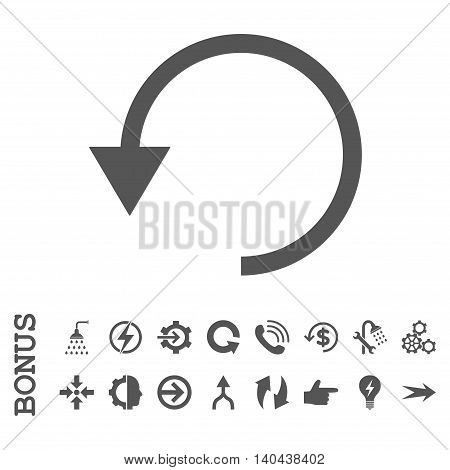 Rotate Ccw glyph icon. Image style is a flat iconic symbol, gray color, white background.