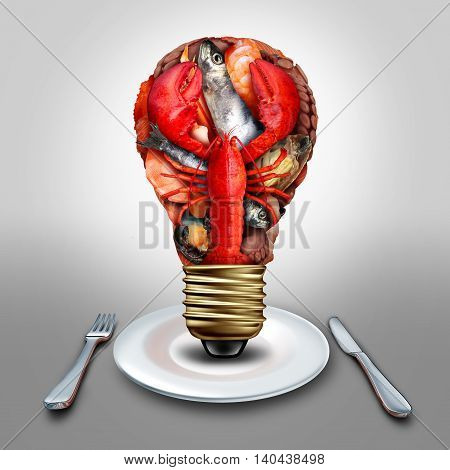 Seafood idea and thinking sea food menu ideas as shellfish crustacean and fish grouped together shaped as a lightbulb or light bulb symbol on a diner plate with lobster clams mussels shrimp octopus and sardines with 3D illustration elements.