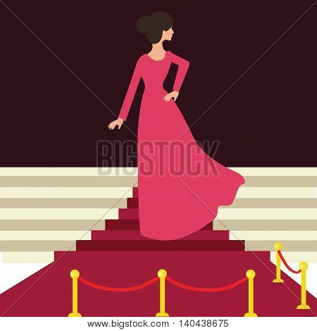 model celebrity on red carpet woman female from behind beautiful entrance celebration event vector