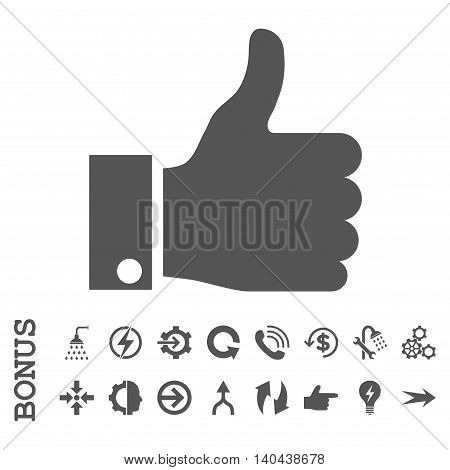 Thumb Up glyph icon. Image style is a flat iconic symbol, gray color, white background.