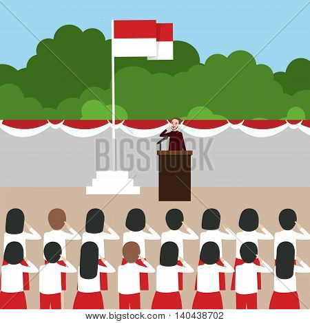 Indonesia flag ceremony school kids during national independent day vector