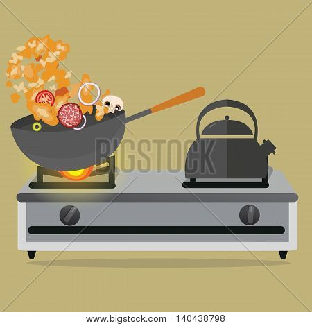 frying pan cooking stirred vegetable and meat on top of stove vector