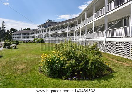 A Bar Harbor hotel building faces the harbour