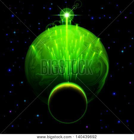 Space background. Big green planet and small one with star shower and bright flare