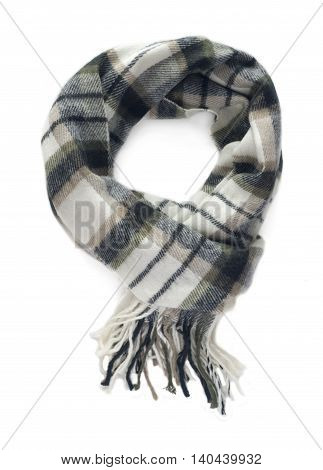 Checkered colorful scarf on a white background.